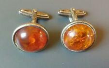 Beautiful 835er Silver Amber Cufflinks (J)