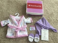 American Girl Spa Set Reversible Robe Slippers Head Wrap Nail Stickers NEW