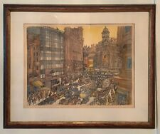 Franklin McMahon Chicago Artist  Spain Barcelona serigraph Signed 22x18 Frame