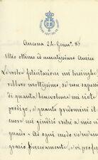 Lettera Autografa del Procuratore Generale del Re di Ancona Antonio Cassano 1886