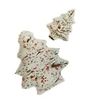 Lot of 2 Vintage Christmas Tree Ceramic Trinket Dishes, Speckled Paint
