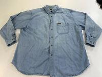 Woolrich Blue Denim Button Front Long Sleeve Shirt Mens XL Vintage Look