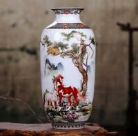 Jingdezhen Ceramic Vase Flowers Chinese Horses Porcelain Antique Reproduction