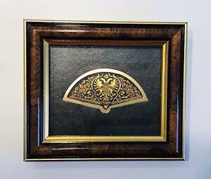 Damascene Damasquinado Toledo Spain Framed Picture 24K Inlay Phoenix Fan