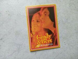 Cindy & Bert  -  Fan -Club -Ausweis - aus den 70 er Jahren -top    #