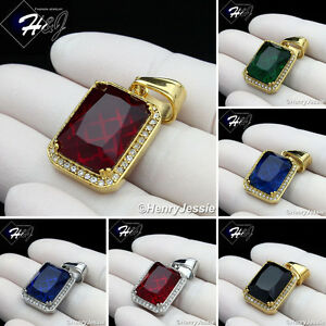 MEN Stainless Steel Gold/Silver Green/Blue/Black Onyx/Ruby Charm Pendant*P98