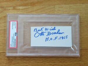 Vintage HOFer OTTO GRAHAM signed CLEVELAND BROWNS Cut Signature PSA 84270471