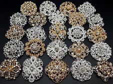 Lot 24pc Mixed Alloy Gold & Sliver Rhinestone Crystal Brooches Pins DIY Bouquet