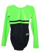 Gk Elite Black with Neon Green Velvet Gymnastics Leotard - As Adult Small 3925