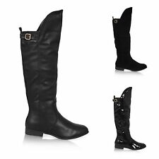 Zip Knee High Boots Block 100% Leather Upper Shoes for Women