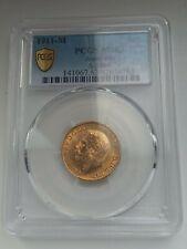 More details for 1911-m george v full gold sovereign (melbourne) pcgs ms63
