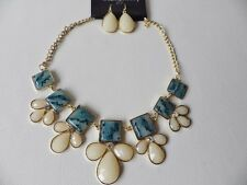 Statement Necklace 15: Blue/Cream with gold plated chain & Matching Earrings