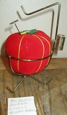 Vintage Sewing Velvet Pin Cushion Seamstress Type Thimble Holder Metal Stand EUC