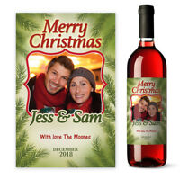 Personalised Merry Christmas Photo Wine label gift