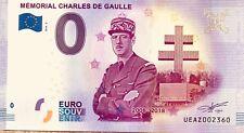 BILLET 0 EURO SOUVENIR TOURISTIQUE MEMORIAL CHARLES DE GAULLE 2018-2