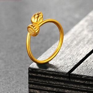 Fine Pure 999 24Kt Yellow Gold Band Women Lotus Flower Ring  1.3-1.5g US 7.5