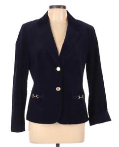 Talbots Womens Blazer 10 Blue Thin Wale Corduroy Riding Blazer Gold Horsebit