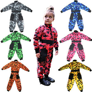 Girls Kids Motocross Race Suit LEOPARD Boys Camo Overalls Coverall ONE PIECE