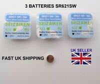 3 x SR621SW Micro Silver Oxide Watch Battery 1.55V Fits Seiko Made In Japan 364