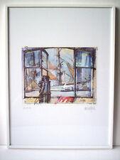 """""""Sail 89"""" Claus Tegtmeier,geb.1946 Hamburg Grafik signiert Orig.Rahmen 40x30cm"""