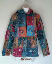 Hippy Boho Vintage Patchwork Cotton Fleece Lined Coat Jacket Top HANDMADE Nepal
