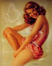 """ROLF ARMSTRONG PIN-UP POSTER """"SO NICE"""" SEXY SMILE PINK LINGERIE PHOTO ART PRINT"""