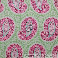 BonEful Fabric FQ Cotton Quilt Amy Butler Green Pink White Paisley Flower Belle