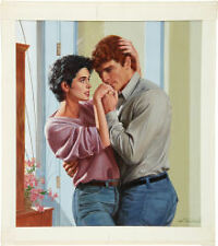 Original Ed Tadiello cover painting* Harlequin Presents #1426 The Touch of Love