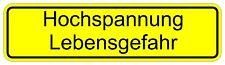 """Aufkleber """"Hochspannung Lebensgefahr"""", 20 X 9cm Hinweis, Stromquelle, Warnschild"""