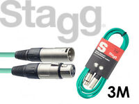 Stagg Microphone Mic Cable SMC3 3 Meter XLR Male to XLR Female GREEN - FREE P&P