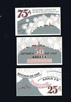 3x Notgeld Gutschein Stadt KAHLA 25, 50, 75 Pfennig Porzellan-Stadt 1921 top