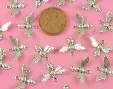 ANT SILVER SMALL DETAILED BEE CHARM/DROPS - 4 PC(s)