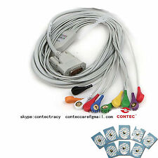 NEW ECG Cable TYPE A ECG EKG Cable twelve ECG lead+20Piece ECG Electrodes,CONTEC