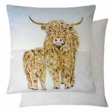 """EVANS LICHFIELD WINTER CHRISTMAS HIGHLAND COW LINEN CHENILLE CUSHION COVER 17"""""""