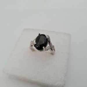 Giuseppe 'Pippo' Perez Black Spinel ring in Platinum over Sterling Silver 'O'