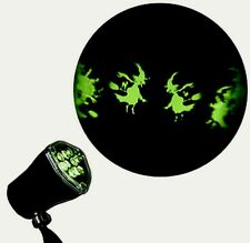 Green Witches On Brooms Led Light Show Projection Whirl-a-Motion Halloween Light