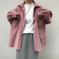 Women Corduroy Shirt Jacket Coat Tops Blouse Retro Causal Loose Outwear Japanese