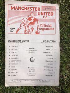Single Sheet Football Programme MAN UTD v ASTON VILLA 21-12-68 Central League