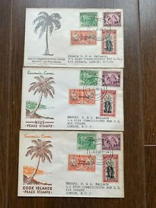 Samoa, Niue, Cook Islands 1946 Peace Issue First Day Covers
