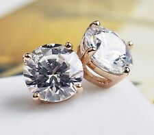 1 ct tw 5mm 14K Yellow Gold AAA D-Flawless CZ Stud Earrings SPARKLING