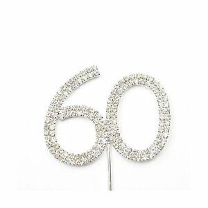 Rhinestone Crystal Silver Number 60 Birthday 60th Anniversary Cake Topper NEW