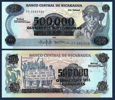 Nicaragua P163, 500,000 Cordoba, overprint note Demonstration, flowers, UNC