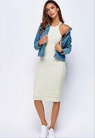 Womens Off White Bodycon Stretch Sleeveless Casual Midi Dress UK Sizes 8 10 12