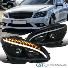 Fit 08-11 Benz W204 C-Class Black Projector Headlights Head Lamps w/ LED Signal