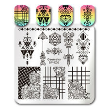 Nail Art Stamping Plate Template Image Printing Geometry Flower Manicure BP-X36
