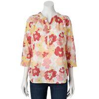 NEW Croft & Barrow 3/4 Sleeve Pink Floral Top Shirt Size L