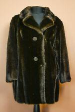 Tissavel French Dark Brown Faux Fur Jacket Coat Women's Vintage Medium UK 12 14