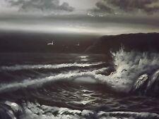 Negro Blanco Mar Océano Pintura Al Óleo Grande Lienzo Paisaje olas del océano Original
