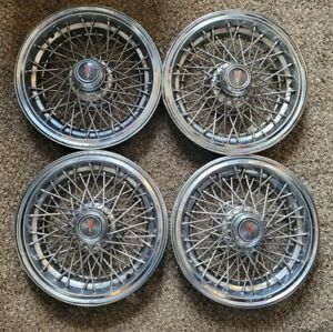 "Set of 4 OEM Vintage Pontiac Safari Caprice 15"" Wire Spoke Hubcaps Wheel Covers"