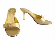 St. John Gold Leather High Heel Slide Sandals w/ Heart Buckles size 7 B